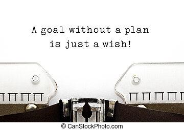 plan, juste, souhait, but, sans