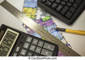 plan, kalkulator, linia, concept., prospekt, lokaty, pióro, planowanie, architektura, mierzenie, budowa., górny, plan