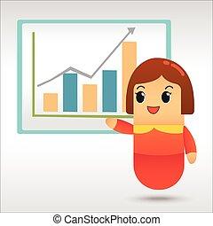 plan, kobieta interesu, handlowa strategia