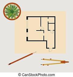 plan., lägenhet, illustration, vektor