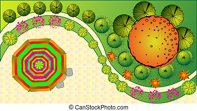 plan, landscape, vector, gekleurde