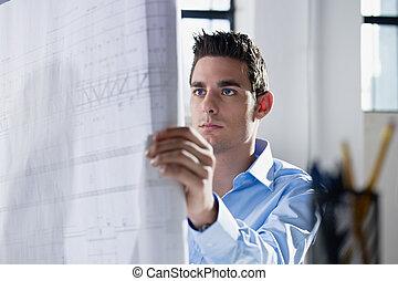 plan, lecture, architecte, bureau