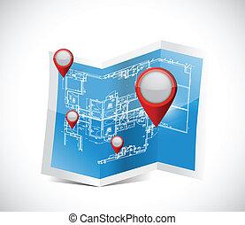 plan, locator, wskazówki, ilustracja