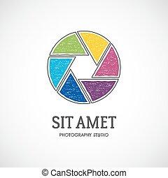 plan, logotype., foto, tee, ontwerp, badge.vector, logo, ontwerp, web, ouderwetse , vrijstaand, etiket, achtergrond., retro, mal, witte , fotografie, hemd, lens, sluiter, veelkleurig, t, fotograaf, icon., of