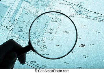 plan, loupe, surveyor's, iluminar desde el fondo