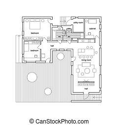plan., maison, architectural