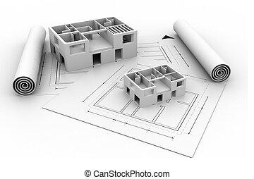 plan, maison, croquis mise point, architecture, 3d