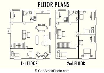 plan, maison, furniture., plancher, architecture, seconde, ...