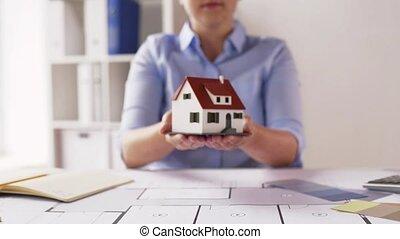 plan, maison, modèle, architecte, femme