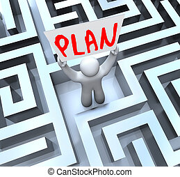 Plan Man Holding Sign in Maze Labyrinth - A man holds a sign...