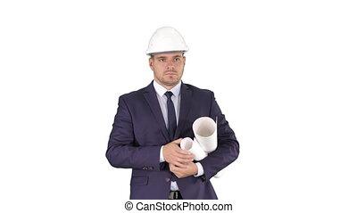plan, marche, concept, bureau, arrière-plan., haut, site, début, construction, business, tenue, blanc, ou