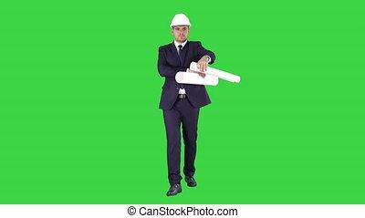 plan, marche, concept, bureau, chroma, haut, site, début, construction, affaires vertes, tenue, écran, ou, key.