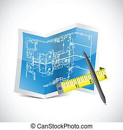 plan, mierniczy taśma, ilustracja