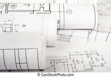 plan, modèles,  architecture, Rouleaux