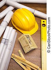 plan, narzędzia, architektura, &