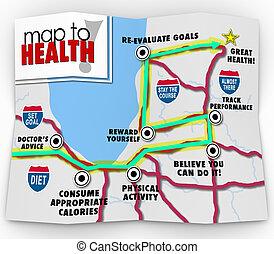 plan, oefening, gezondheid, doel, toonaangevend, dieet, woorden, kaart, u