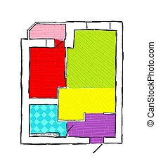 Plan of apartment, hand drawn sketch vector illustration
