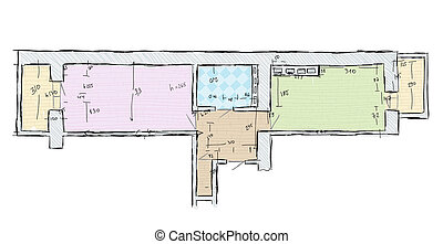 Plan of apartment with dimensions, hand drawn sketch vector illustration