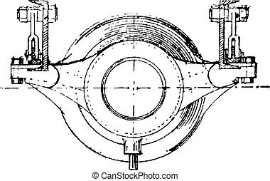 Plan of cannon, vintage engraving.