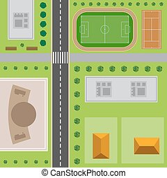 Plan Of City. Top view of the city with the road