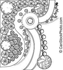 Plan of garden with symbols