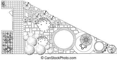 Plan of garden black and white