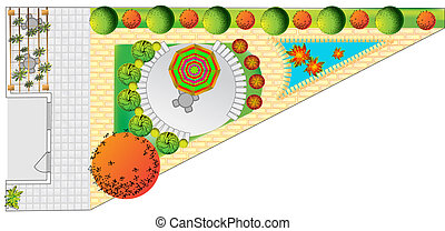Plan of garden with trees symbols