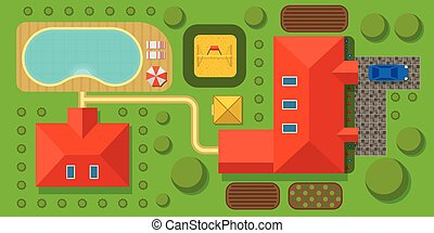 Plan of private house vector illustration. Top view of...