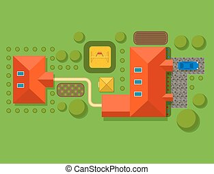 Plan of private house vector illustration top view of...