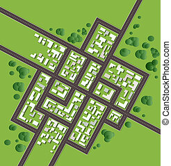 Plan of the city with streets and houses