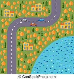 Plan of village. Landscape with the road, forest, lake, cars and houses in the autumn.