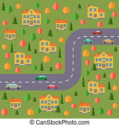 Plan of village. Landscape with the road, forest, cars and houses