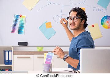 plan, ontwerper, jonge, werkende , mooi