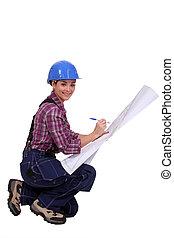 plan, ouvrier, construction, amending, habile