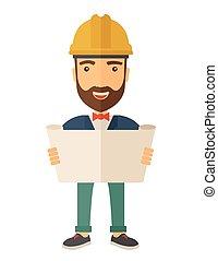 plan., ouvrier construction, tenue