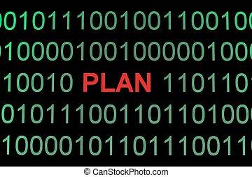 plan, på, binære data
