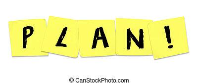 plan, palabra, en, amarillo, notas pegajosas, planificación, a, mejorar