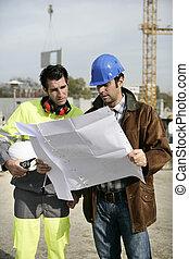 plan, patrząc, nadzorcy, umieszczenie zbudowania