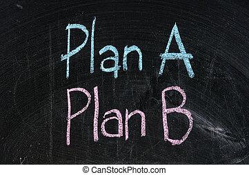 plan, planche, symbole, business, noir, alternative, planification, isolé, stratégie, option, b