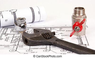 plan, plomberie, closeup, fournitures