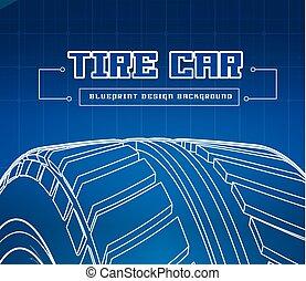 plan, pneu bleu, voiture, illustration, arrière-plan., vecteur, marques