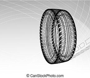 plan, pneu, lumière, marques, gris, illustration, arrière-plan., vecteur, voiture