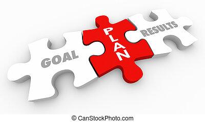 Plan Puzzle Piece Goal Results Words 3d Render Illustration