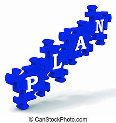 Plan Puzzle Showing Business Planning, Missions And Goals