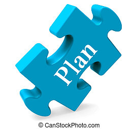 Plan Puzzle Shows Objectives Planning And Organizing