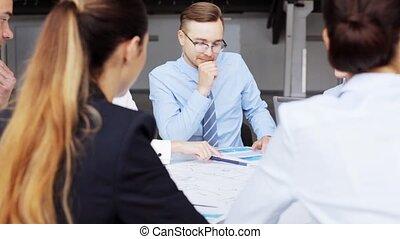 plan, réunion, bureau affaires, équipe