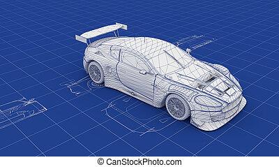plan, race voiture