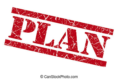 plan red grunge stamp isolated on white