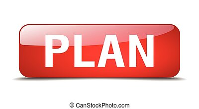 plan red square 3d realistic isolated web button