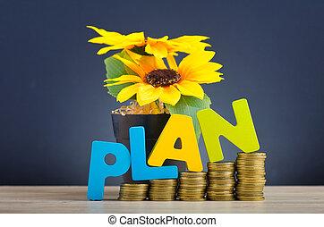plan, reverberation, gradient, financier, sur, planification, bois, fond, concept, pièces, bureau, empilement, mot, beau